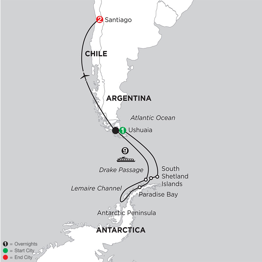 Voyage to Antarctica with Post–Stay in Santiago