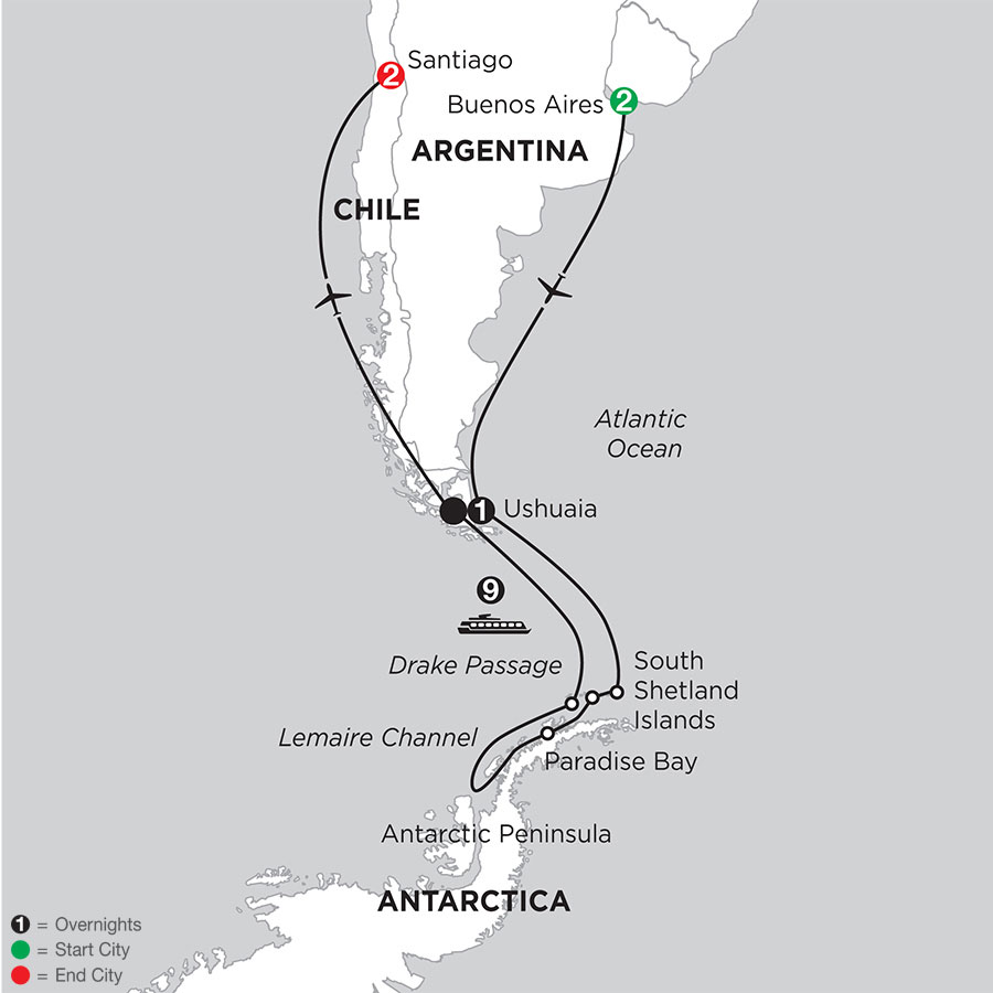 Voyage to Antarctica with Pre–Stay in Buenos Aires & Post–Stay in Santiago