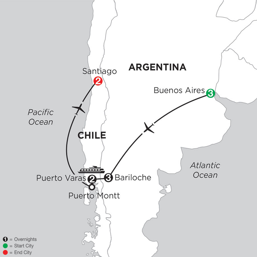 Argentina & Chile's Lake District with Santiago