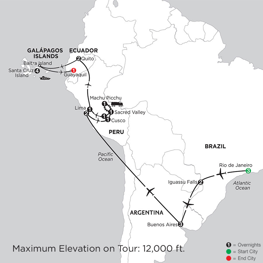 Grand Tour of South America with the Finch Bay in the Galápagos