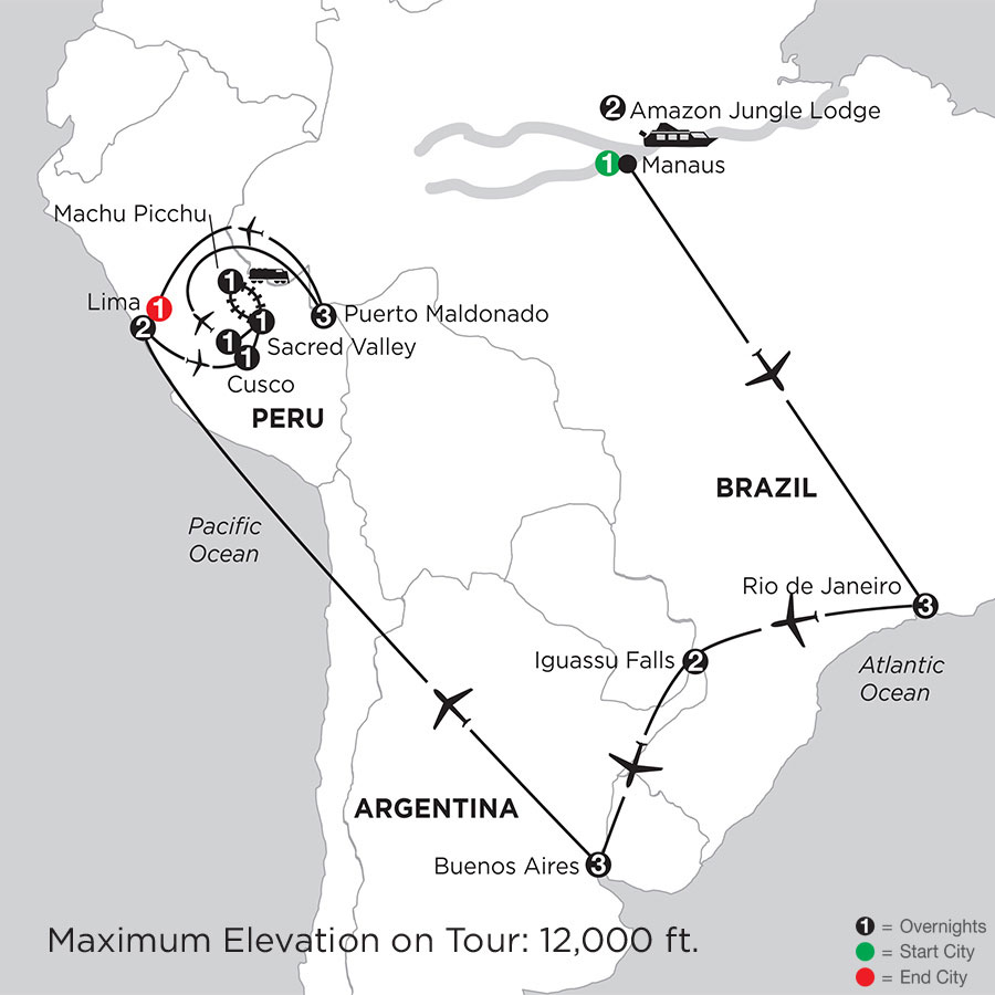 Grand Tour of South America with Brazil's Amazon & Peru's Amazon