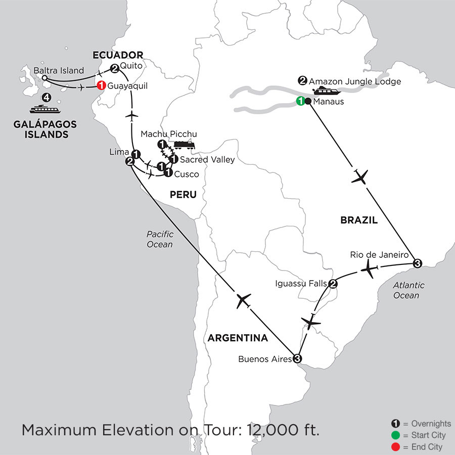 Grand Tour of South America with Brazil's Amazon & the Galápagos on board the Santa Cruz II
