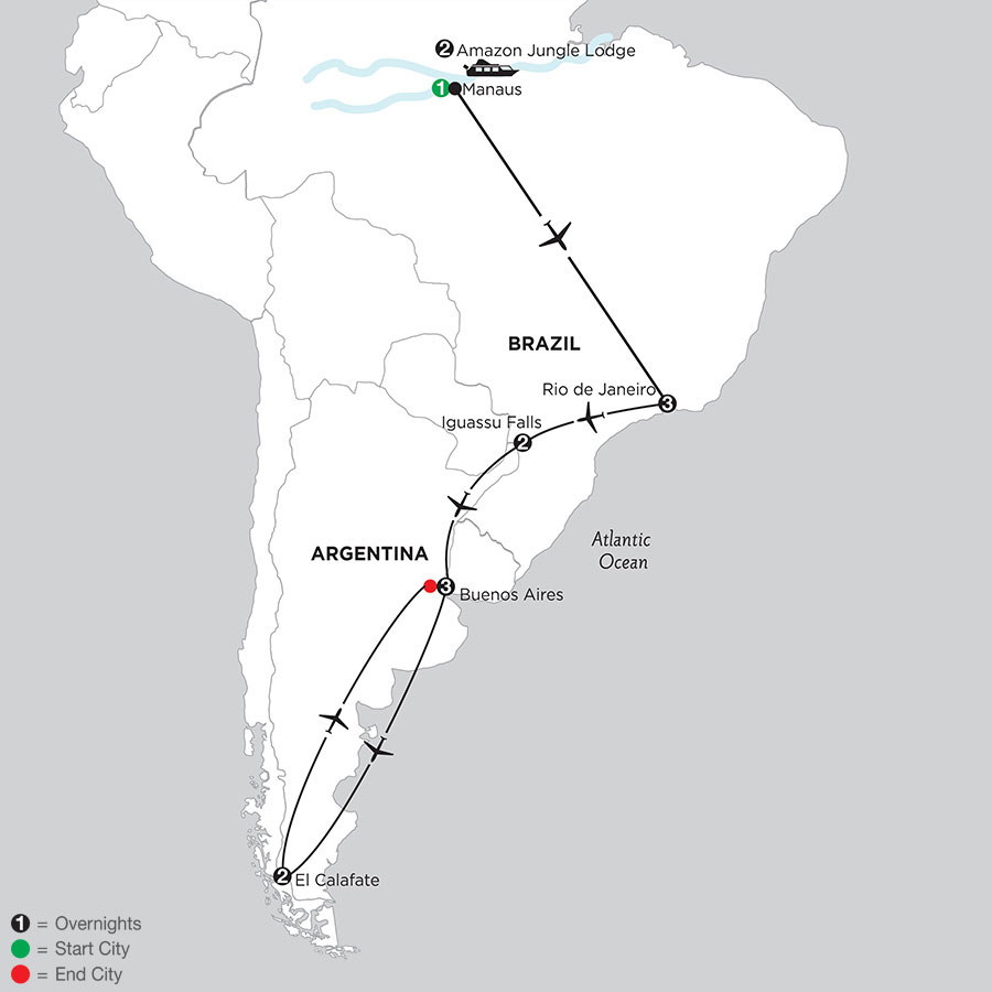 South American Selection with Brazil's Amazon & El Calafate