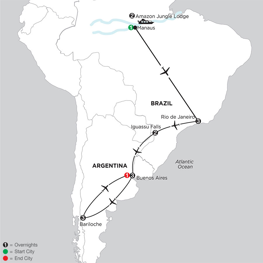 South American Selection with Brazil's Amazon & Bariloche