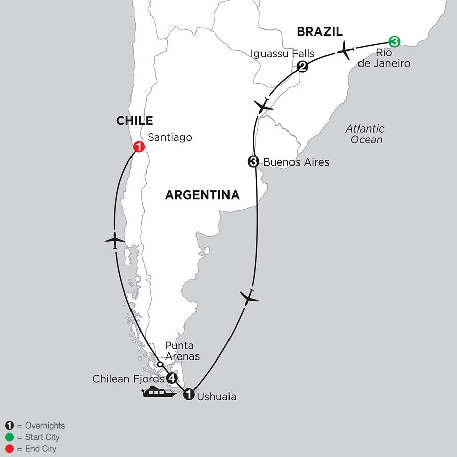 South American Selection with Chilean Fjords Cruise