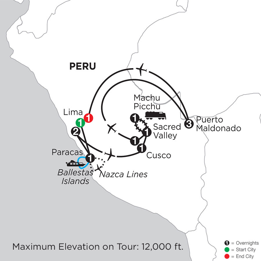 Peru Highlights with Nazca Lines & Peru's Amazon