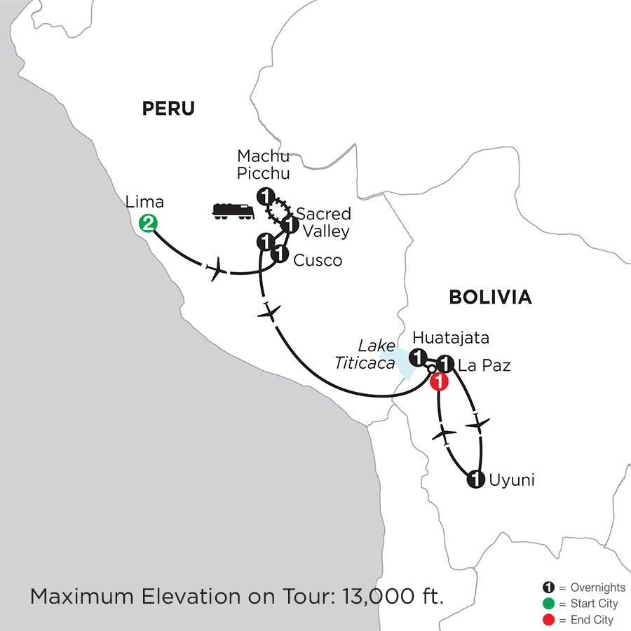 Peru Highlights with Bolivias Lake Titicaca & Uyuni Salt Flats