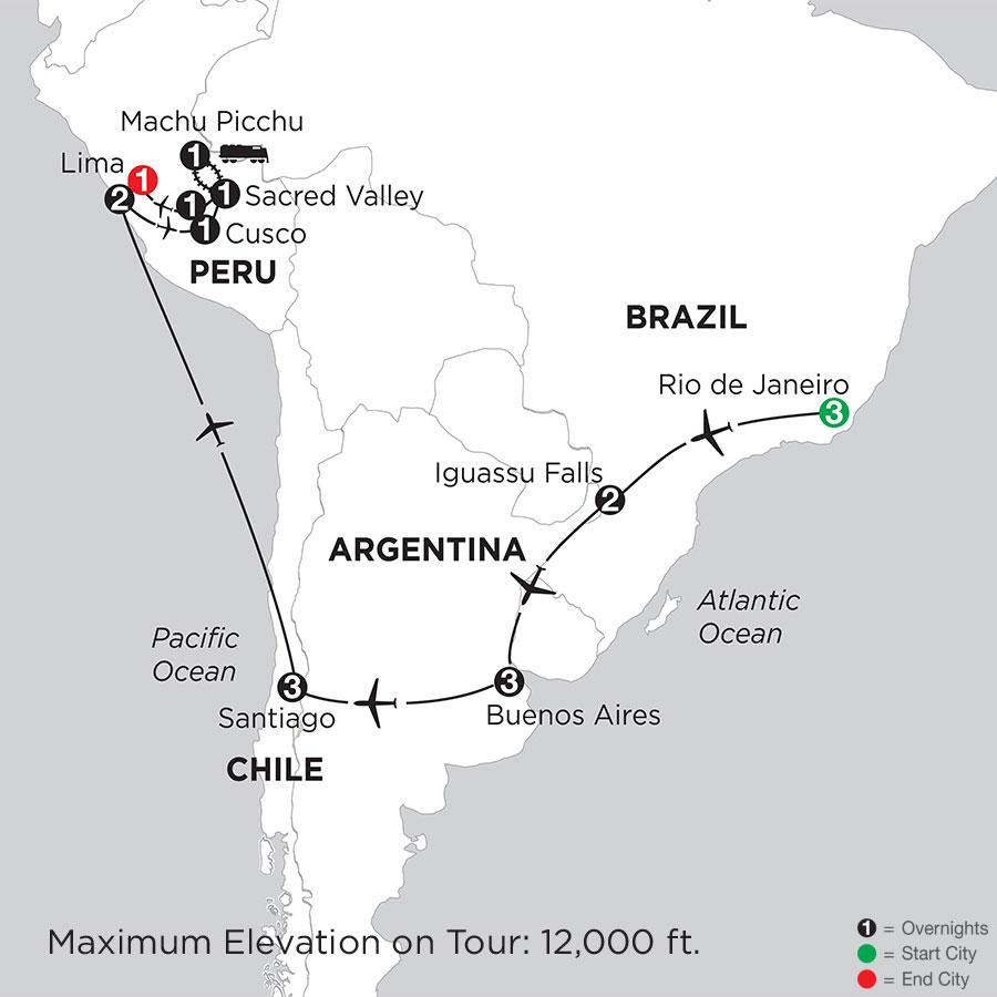 Brazil, Argentina & Chile with Peru & Machu Picchu