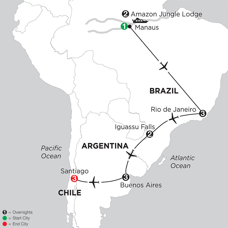 Brazil, Argentina & Chile with Brazils Amazon