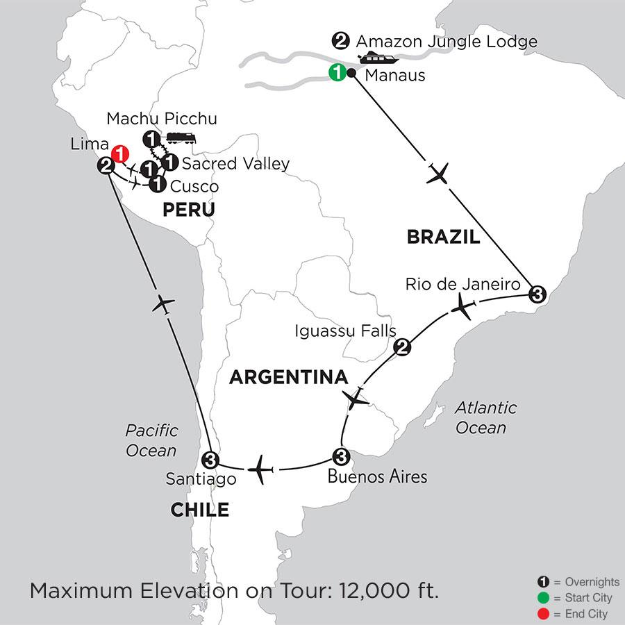 Brazil, Argentina & Chile with Brazil's Amazon, Peru & Machu Picchu
