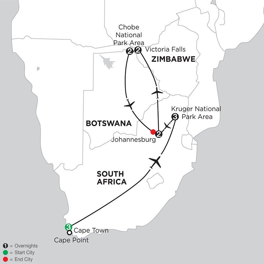South African Sojourn with Victoria Falls & Chobe Area