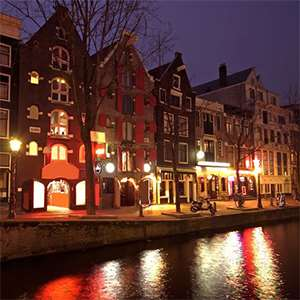 Evening Walk in the Historical Amsterdam and Red Light District
