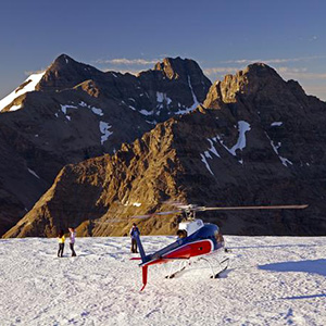 Helicopter Flight over the Remarkables Mountains with Landing