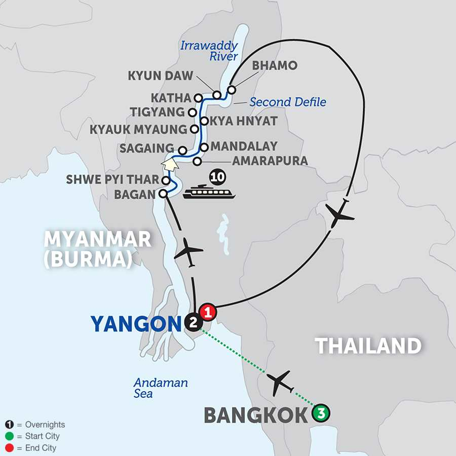 Golden Myanmar and the Alluring Irrawaddy with Bangkok – Northbound (WBKQ2018)