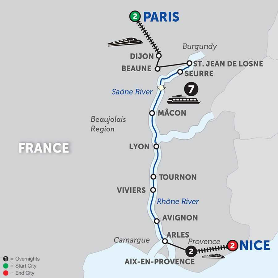 Burgundy and Provence with AixenProvence and Nice Southbound (WJL12018)