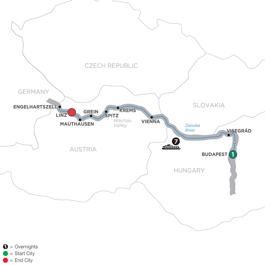 Itinerary map of Active Discovery on the Danube – Westbound 2019 Budapest to Linz