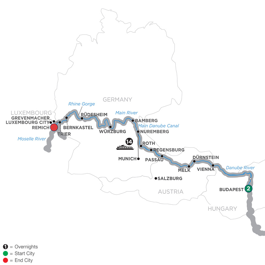 Itinerary map of Jewels of Central Europe – Westbound 2019 Budapest to Remich