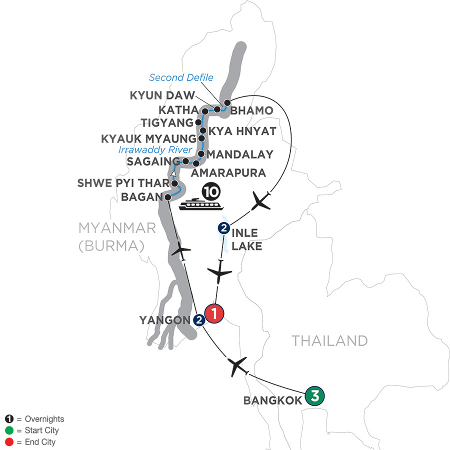 Golden Myanmar and the Alluring Irrawaddy with Bangkok and Inle Lake – Northbound (WBYQ2019)