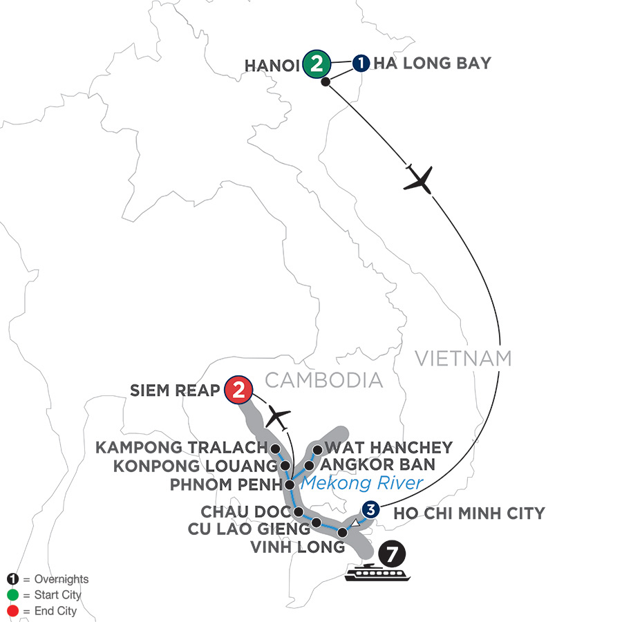 Itinerary map of Fascinating Vietnam, Cambodia & the Mekong River with Hanoi & Ha Long Bay – Northbound 2019 Hanoi to Siem Reap