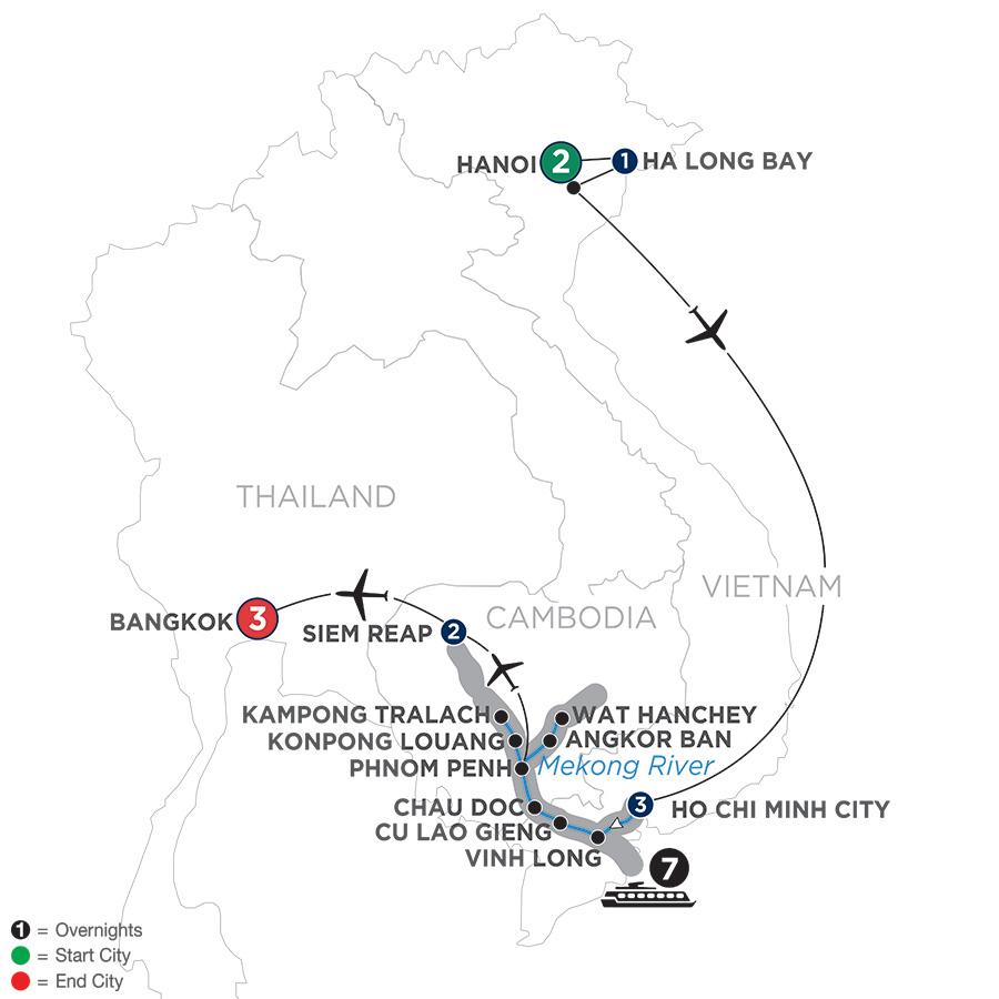 Itinerary map of Fascinating Vietnam, Cambodia & the Mekong River with Hanoi, Ha Long Bay & Bangkok – Northbound 2019 Hanoi to Bangkok