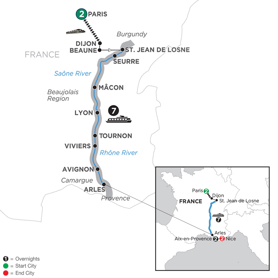Burgundy and Provence with 2 Nights AixenProvence and 2 Nights Nice – Southbound (WJL12019)