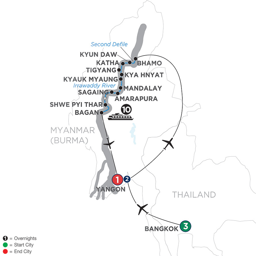 Golden Myanmar and the Alluring Irrawaddy with Bangkok – Southbound (WKBQ2019)