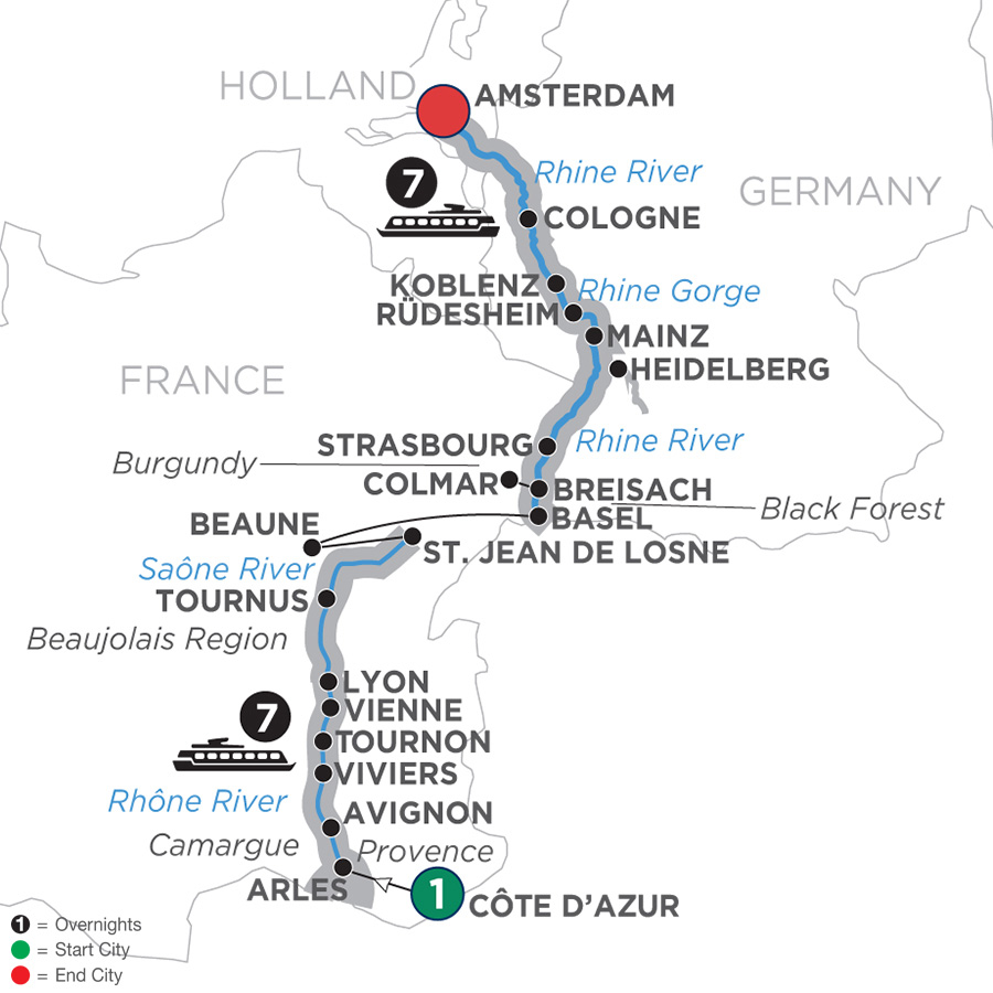 Itinerary map of Rhine & Rhône Revealed – Northbound 2019 Côte d'Azur to Amsterdam