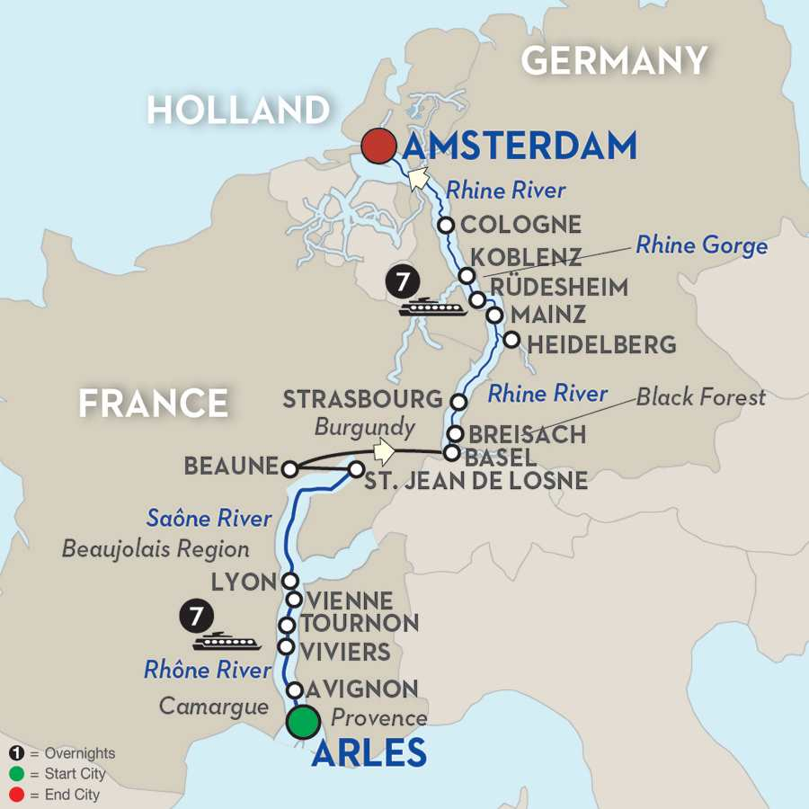 Itinerary map of Rhine & Rhône Revealed for Wine Lovers – Cruise Only 2019 Arles to Amsterdam