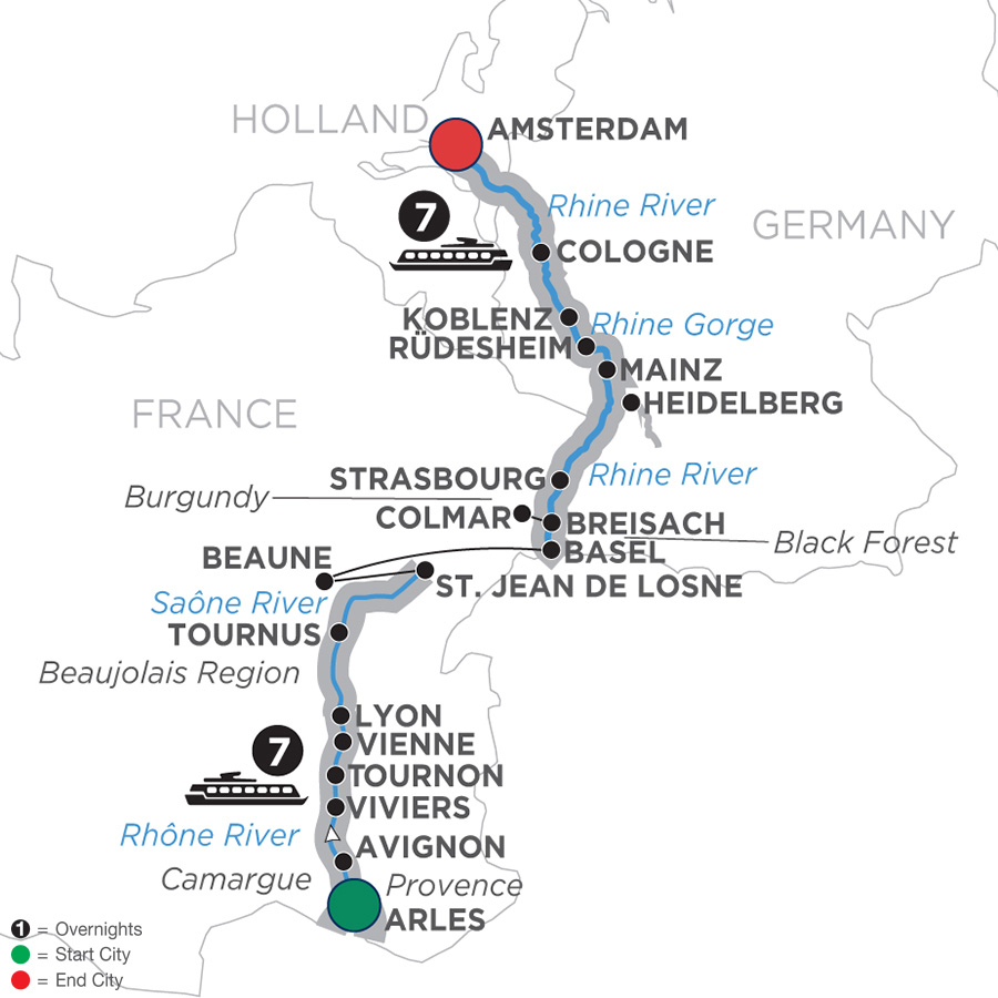 Itinerary map of Rhine & Rhône Revealed – Cruise Only Northbound 2019 Arles to Amsterdam