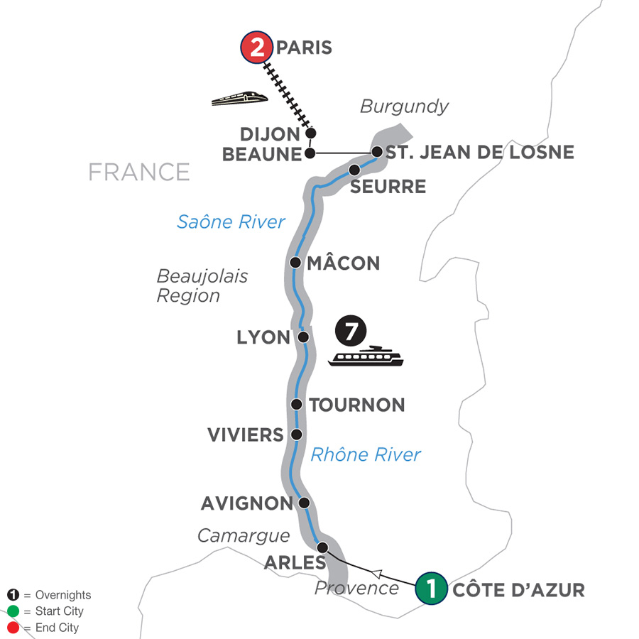 Itinerary map of Burgundy & Provence – Northbound 2019 Cote d