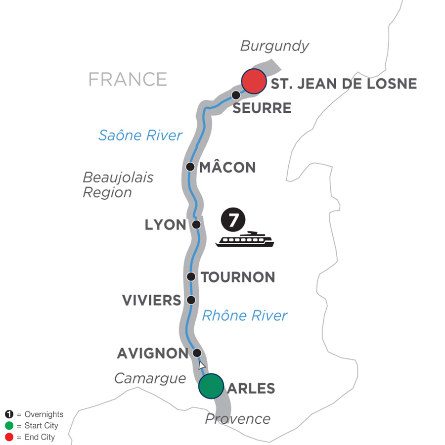Itinerary map of Burgundy & Provence – Cruise Only Northbound 2019 Arles to St. Jean-de-Losne