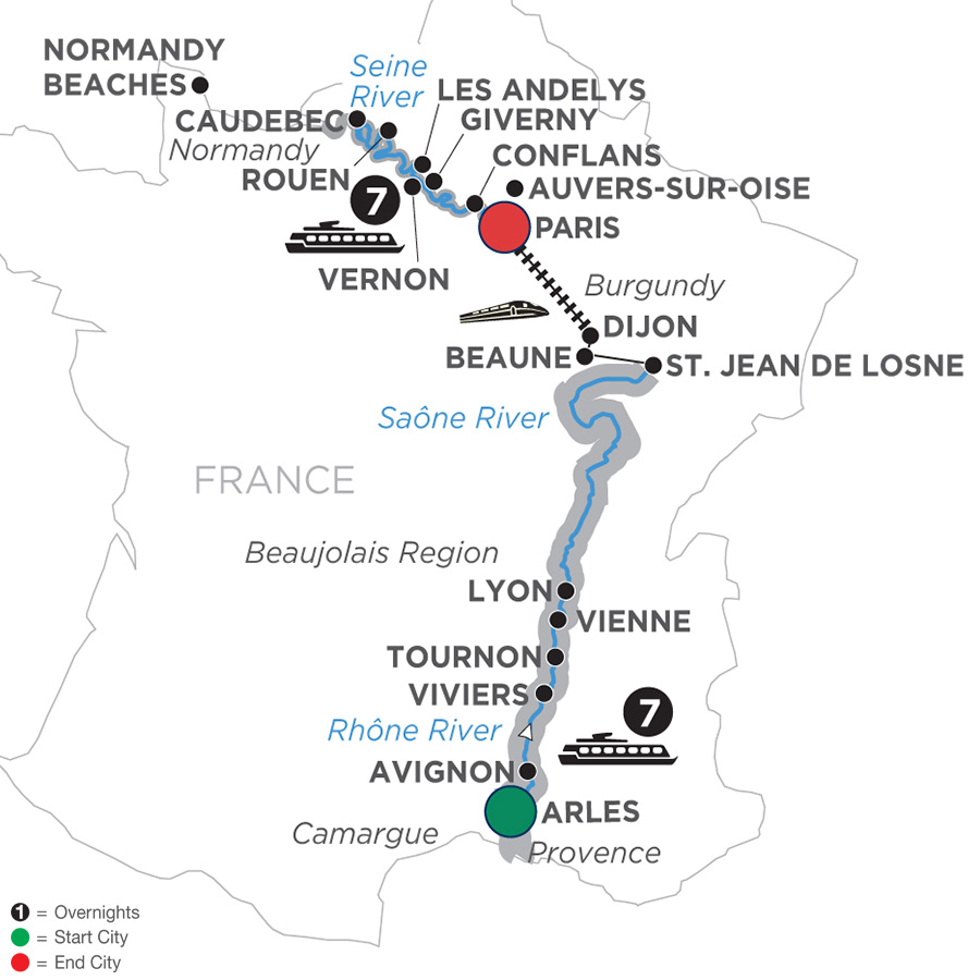 Itinerary map of Grand France – Cruise Only Northbound 2019 Arles to Paris