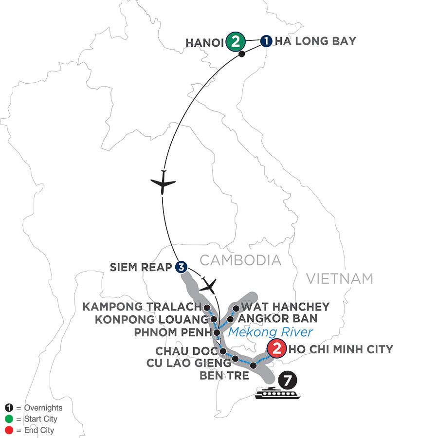 Itinerary map of Fascinating Vietnam, Cambodia & the Mekong River with Hanoi & Ha Long Bay – Southbound 2019 Hanoi to Ho Chi Minh City