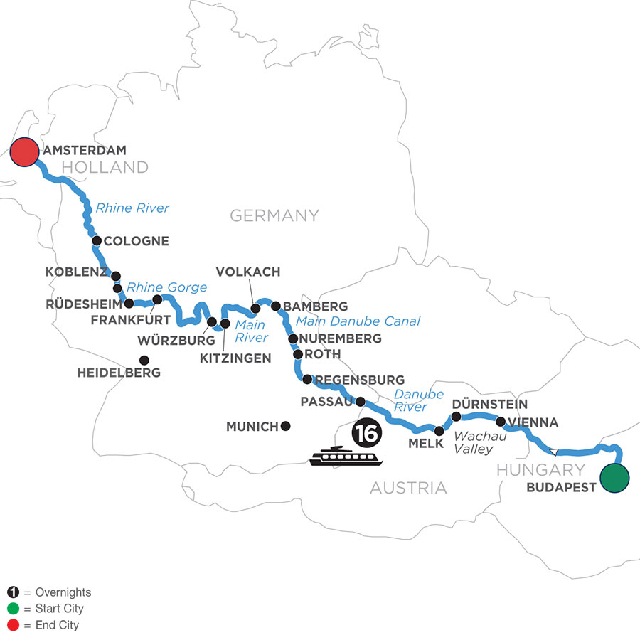 River Cruise Map of Magnificent Rivers of Europe (Westbound)