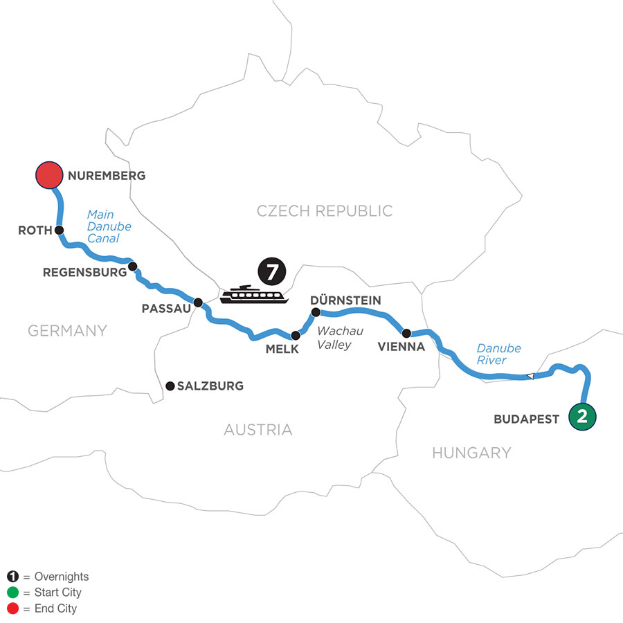 River Cruise Map of The Blue Danube Discovery with 2 Nights in Budapest