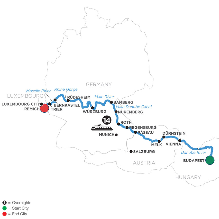 River Cruise Map of Jewels of Central Europe (Westbound)
