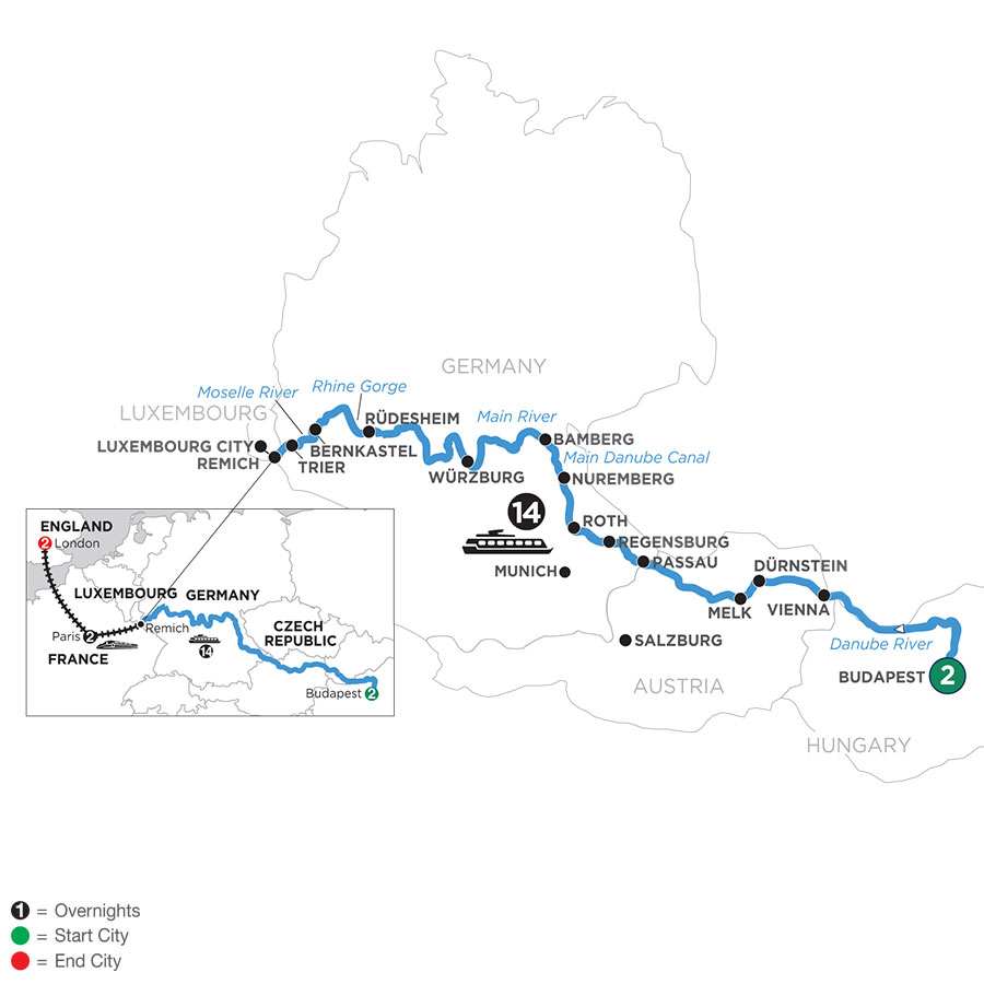 River Cruise Map of Jewels of Central Europe with 2 Nights in Budapest, 2 Nights in Paris & 2 Nights in London (Westbound)
