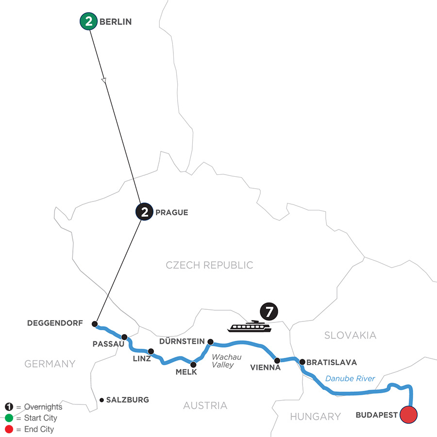 River Cruise Map of Danube Dreams with 2 Nights in Berlin & 2 Nights in Prague with Habsburg & Royalty (Eastbound)