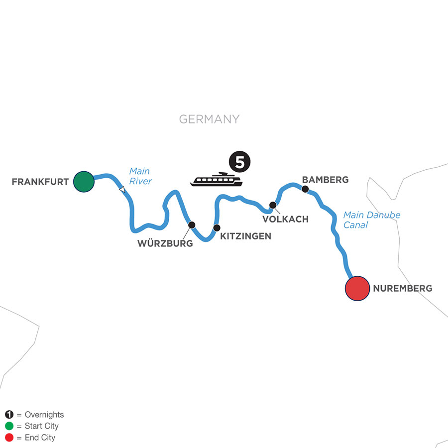 River Cruise Map of Festive Season in the Heart of Germany (Eastbound)