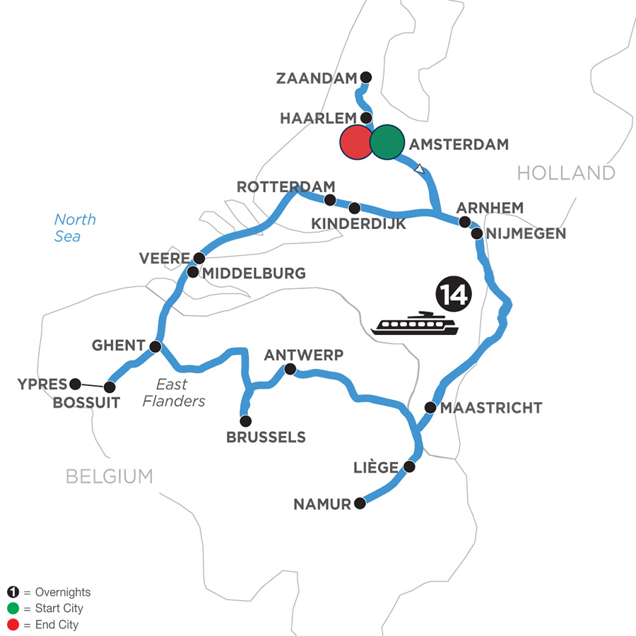 River Cruise Map of Grand Tulip Cruise of Holland & Belgium WWI Remembrance & History Cruise