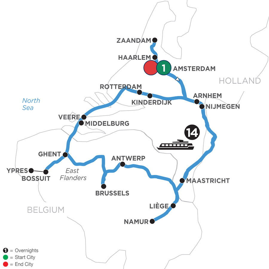 River Cruise Map of Grand Tulip Cruise of Holland & Belgium WWI Remembrance & History Cruise with 1 Night in Amsterdam