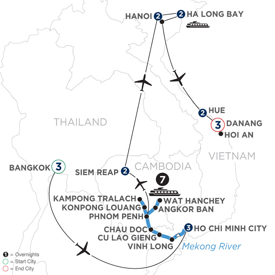 River Cruise Map of The Heart of Cambodia & Vietnam with Bangkok, Hue & Danang (Northbound)