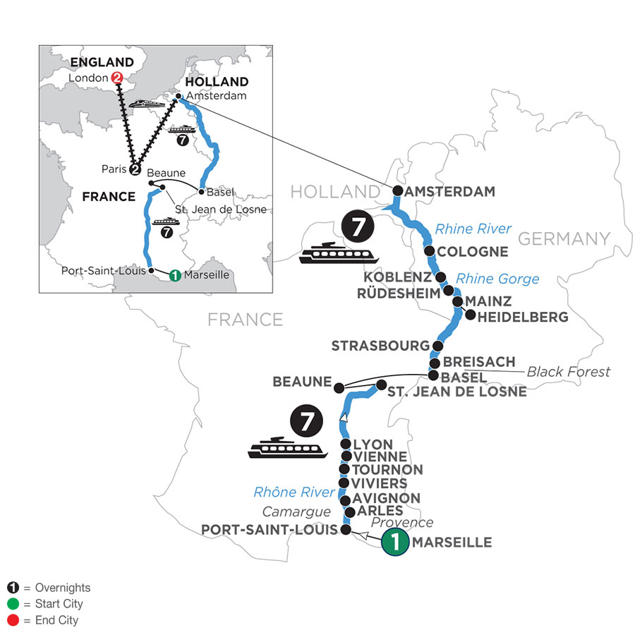 River Cruise Map of Rhine & Rhône Revealed with 1 Night in Marseille, 2 Nights in Paris & 2 Nights in London (Northbound)