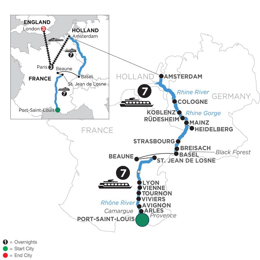 Rhine & Rhône Revealed with 3 Nights in Paris & 3 Nights in London with Jewish Heritage (Northbound)