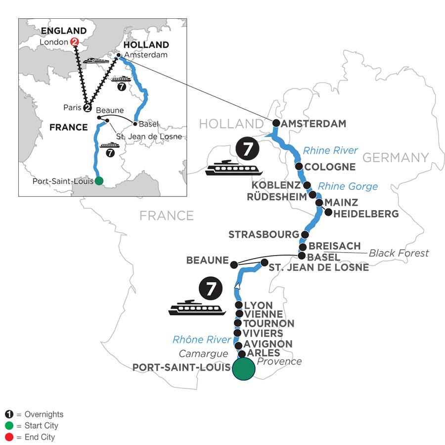 Rhine & Rhône Revealed with 2 Nights in Paris & 2 Nights in London with Jewish Heritage (Northbound)