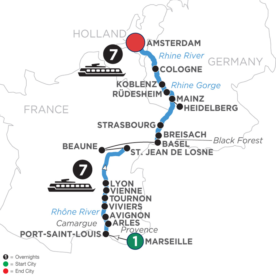 River Cruise Map of Rhine & Rhône Revealed with 1 Night in Marseille with Jewish Heritage (Northbound)