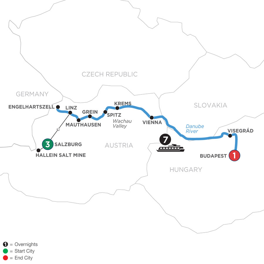 River Cruise Map of Active & Discovery on the Danube with 3 Nights in Salzburg Area (Eastbound)