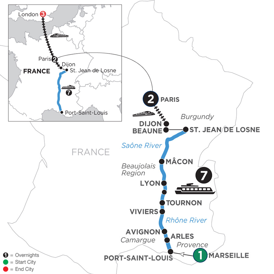 River Cruise Map of Burgundy & Provence with 1 Night in Marseille, 2 Nights in Paris & 3 Nights in London for Wine Lovers (Northbound)