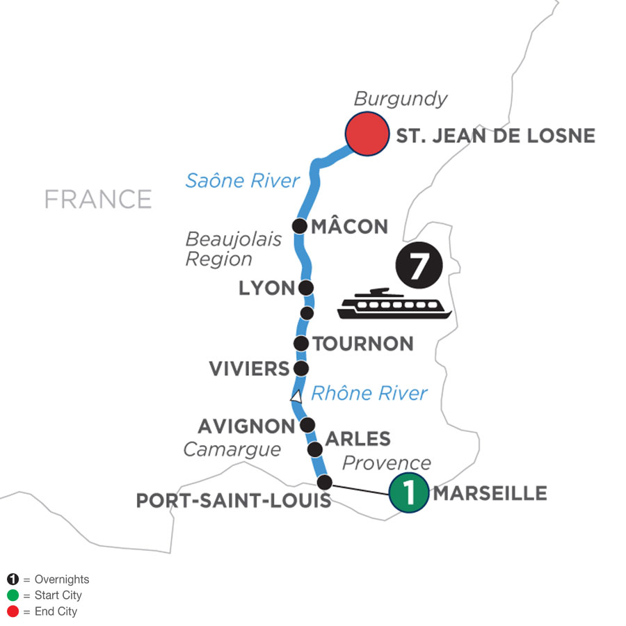 River Cruise Map of Burgundy & Provence with 1 Night in Marseille (Northbound)