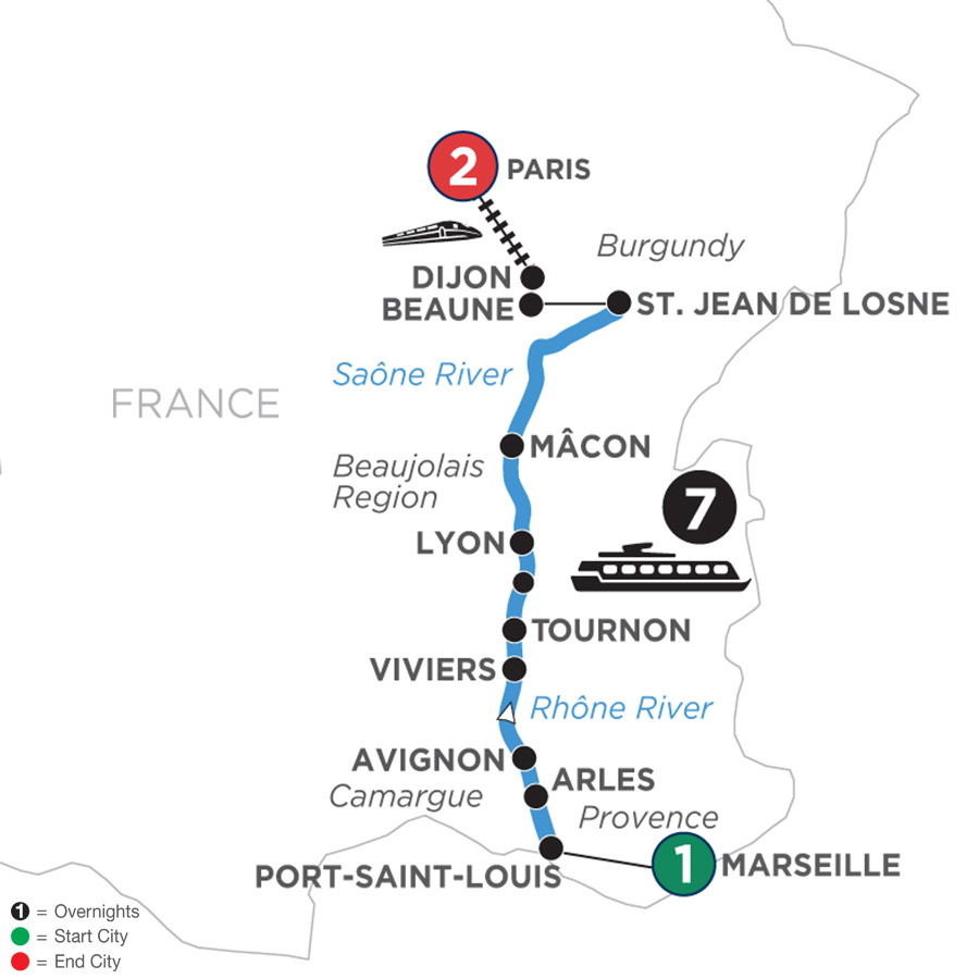 River Cruise Map of Burgundy & Provence with 1 Night in Marseille & 2 Nights in Paris for Wine Lovers (Northbound)